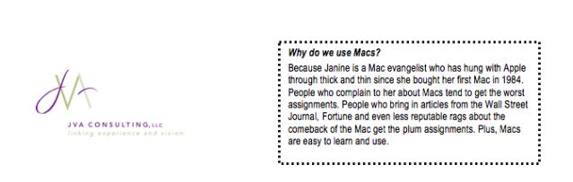 Statement about Macs in JVA employee handbook